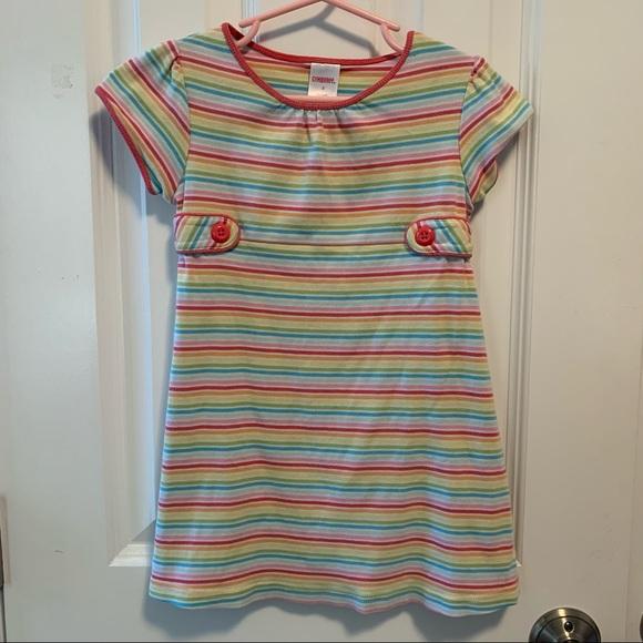 Gymboree Rainbow Striped dress with button details